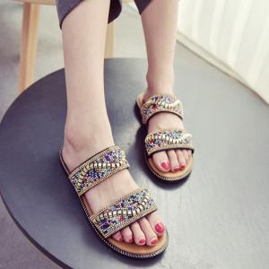 Faux Leather Rhinestones Flat Heel Slippers