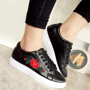 Embroidery Faux Leather Athletic Shoes - Black - 39