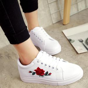 Embroidery Faux Leather Athletic Shoes - White - 39
