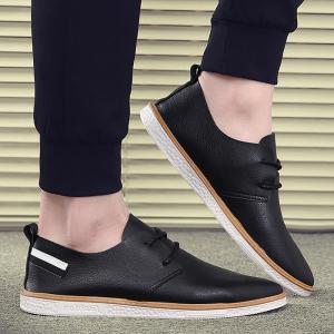 Faux Leather Striped Casual Shoes - Black - 40