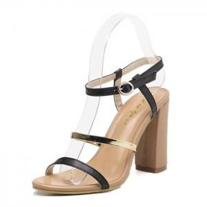 Color Block High Heel Sandals - BLACK 37