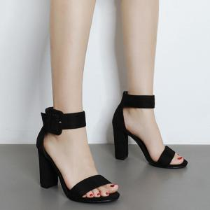 High Heel Ankle Strap Sandals - BLACK 37
