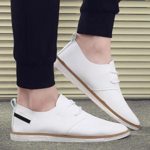 Faux Leather Striped Casual Shoes - White - 40