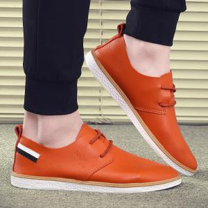 Faux Leather Striped Casual Shoes - Deep Orange - 40