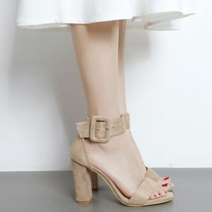 High Heel Ankle Strap Sandals - Apricot - 38