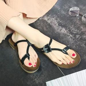 Flat Heel Toe Ring Slippers