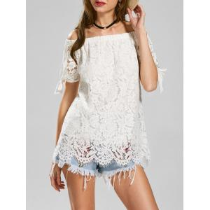 Self Tie Off Shoulder Tunic Lace T Shirt - White - Xl