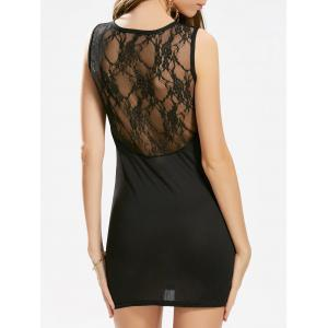 Mesh Trim Sleeveless Mini Bodycon Dress