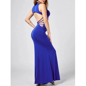 Back Cut Out Maxi Tank Prom Dress - Blue - S