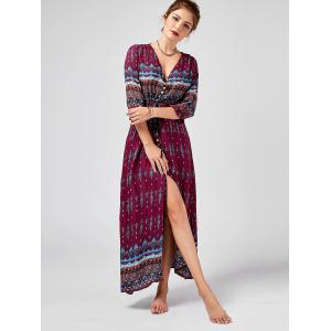 Tribal Print High Split Bohemian Dress - WINE RED 2XL