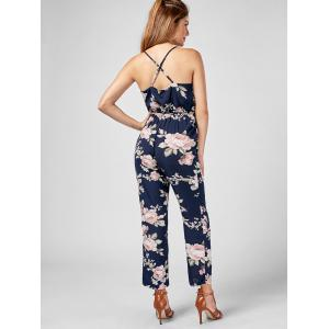 High Waisted Backless Floral Jumpsuit - BLUE M
