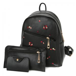 PU Leather Heart Embroidered Backpack Set - Black - 40