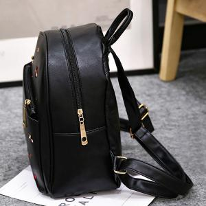 PU Leather Heart Embroidered Backpack Set - BLACK