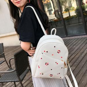 PU Leather Heart Embroidered Backpack Set - WHITE