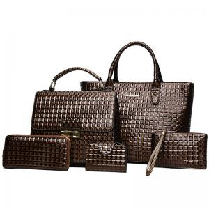 5 Pcs Geometrci Print Handbag Set - Brown - 38