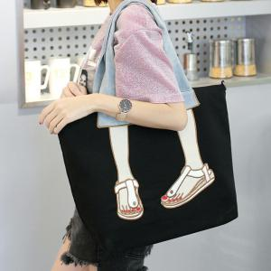 Canvas Funny Embroidery Tote Bag -