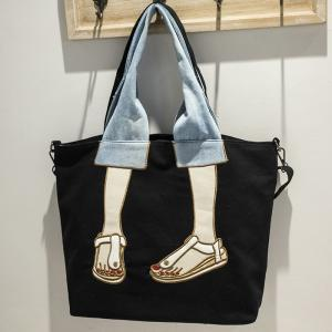 Canvas Funny Embroidery Tote Bag - BLACK