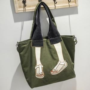 Canvas Funny Embroidery Tote Bag - GREEN