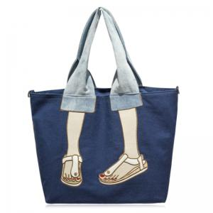 Canvas Funny Embroidery Tote Bag - Blue - 39