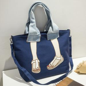Canvas Funny Embroidery Tote Bag - BLUE