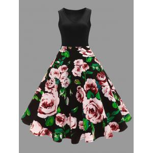 Plus Size Floral Printed Vintage Midi Flare Dress - Black - 5xl