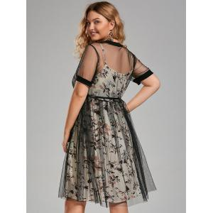 Plus Size Floral Cami Dress and Sheer T-shirt Dress with Belt - APRICOT 5XL