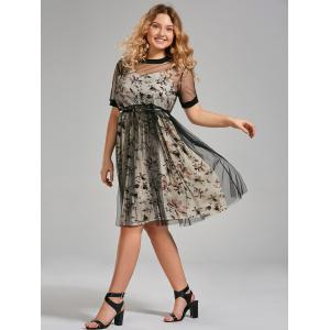 Plus Size Floral Cami Dress and Sheer T-shirt Dress with Belt - APRICOT 3XL