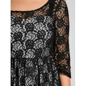 Semi Sheer Plus Size A Line Lace Dress with Sleeves -