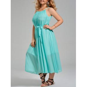 Plus Size Chiffon Long Slip Dress with Belt - Turquoise - One Size