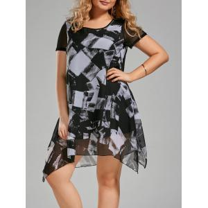 Plus Size Ink Painting Chiffon Swing Asymmetric Dress