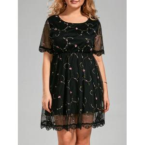 Semi Sheer Plus Size Embroidered Dress with Lace Trim - Black - 5xl