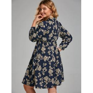 Floral Print Plus Size Long Sleeve Pussy Bow Dress - PURPLISH BLUE 5XL