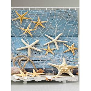 Wood Grain Starfish Fishing Net Nautical Shower Curtain - Light Blue - W79 Inch * L79 Inch