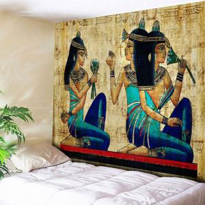 Wall Hanging Egyptian Mural Printed Tapestry - Yellow - W79 Inch * L59 Inch