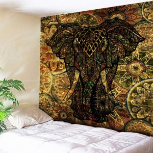 Animal Wall Hanging Vintage Elephant Print Tapestry - Deep Brown - W59 Inch * L79 Inch