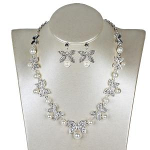 Faux Pearl Butterfly Earring and Necklace Sets - Silver - Xl