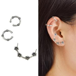 Flower Cartilage Ear Cuff Earring Set