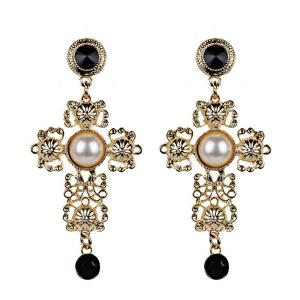 Faux Pearl Cross Filigree Drop Earrings