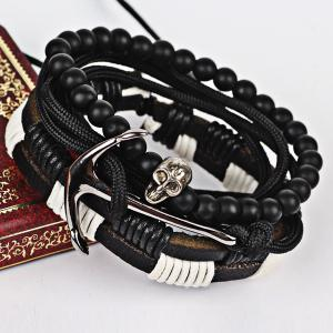 Faux Leather Anchor Skull Beaded Bracelet Set - Black