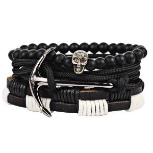 Faux Leather Anchor Skull Beaded Bracelet Set -