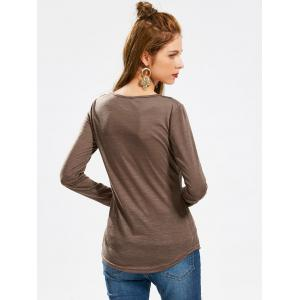 Casual Scoop Neck Hollow Out Crochet Spliced Solid Color T-Shirt For Women - COFFEE L