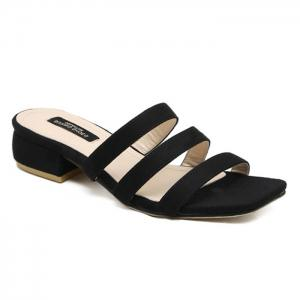 Square Toe Strappy Slide Sandals - Black - 39