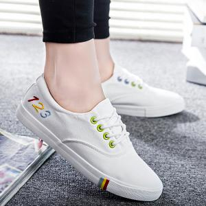 Figures Pattern Colorful Eyelets Athletic Shoes - White - 38