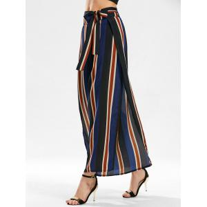 Stripe Side Slit Zippered Wide Leg Pants - Blue - Xl