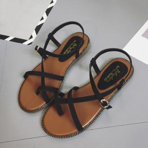 Toe Ring Flat Heel Faux Leather Sandals -
