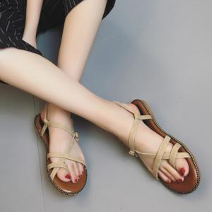 Toe Ring Flat Heel Faux Leather Sandals - Abricot 39