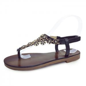 Flat Heel Flowers Elastic Sandals - BLACK 37