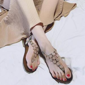 Flat Heel Flowers Elastic Sandals - Light Gold - 38