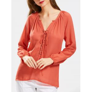 Long Sleeve Self Tie Lace Up Blouse