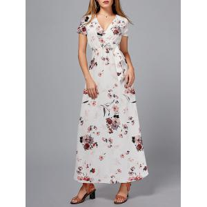 Short Sleeve Floral Maxi Surplice Dress - Floral - Xl